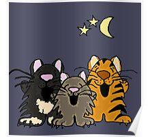 Three Funny Singing Cats Original Art Poster