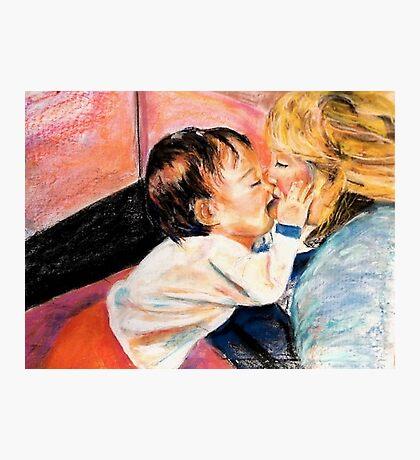 Son Kissing His Mom Photographic Print