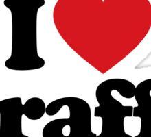 I Love Heart Giraffes Sticker Sticker