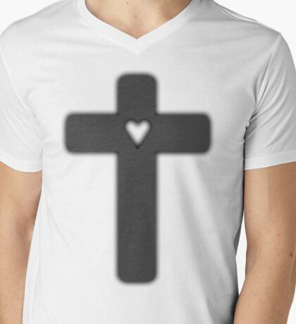 grey Judas cross (lady Gaga) Mens V-Neck T-Shirt
