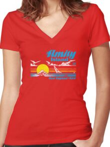 Amity Island Women's Fitted V-Neck T-Shirt