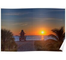 Watching Sunrise - Miami Beach, FL Poster