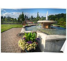 Water Fountain & Floral Decoration Poster