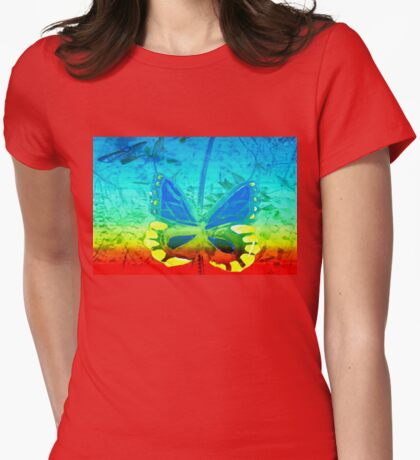 Butterfly in primary colors Womens Fitted T-Shirt