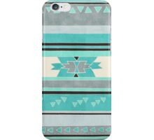 Rustic Tribal Pattern in Teal, Charcoal and Cream iPhone Case/Skin
