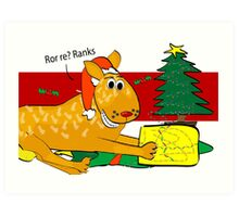 Red Heeler Christmas Card Art Print
