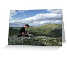 Tim Breeze on the Summit of Carn Bannoch Greeting Card