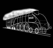 My vector line-art white on black drawing of the Mallard Steam Locomotive by Dennis Melling