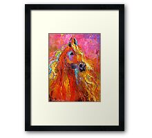 Red Impressionistic Arabian Horse painting Framed Print