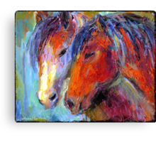 Two Mustang Horses Impressionistic Painting Canvas Print