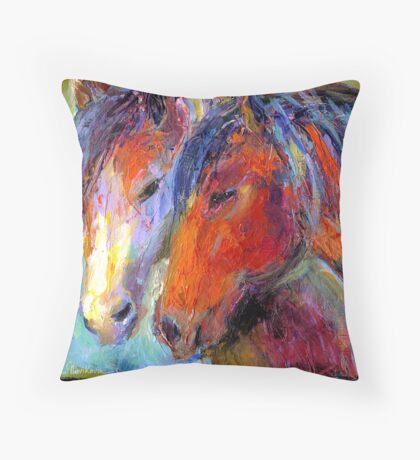 Two Mustang Horses Impressionistic Painting Throw Pillow