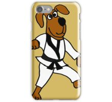 Funny Brown Puppy Dog Doing Karate iPhone Case/Skin