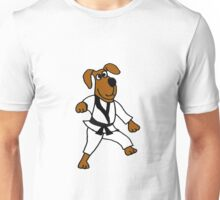 Funny Brown Puppy Dog Doing Karate Unisex T-Shirt