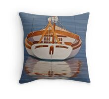 One Man Boat Throw Pillow