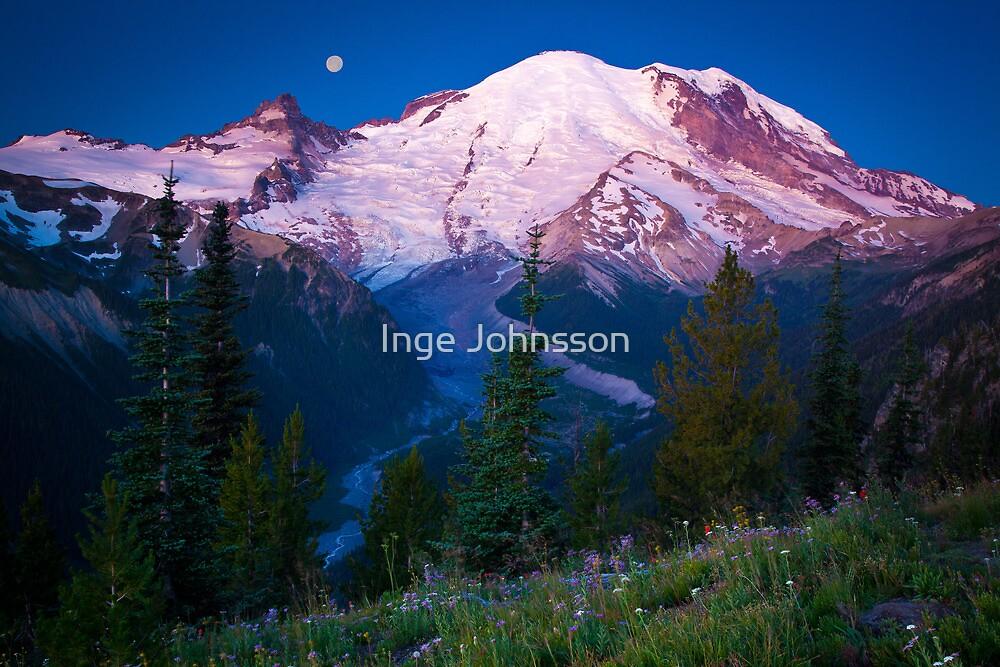 White River Moonset by Inge Johnsson