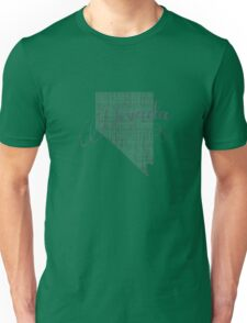 Nevada State Typography Unisex T-Shirt