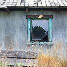 Window Framed in Aqua by Glennis  Siverson