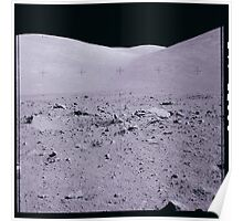Apollo Archive 0164 Moon Mountains and Rocks on Lunar Surface Poster