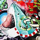 Catching a Shark Street Art by yurix