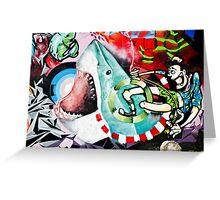 Catching a Shark Street Art Greeting Card