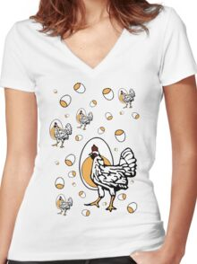 Retro Roseanne Chickens Women's Fitted V-Neck T-Shirt