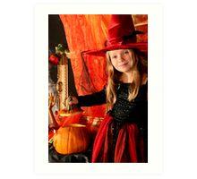 Girl with a Halloween pumpkin  Art Print