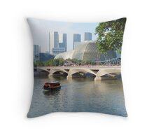 singapore river scene Throw Pillow