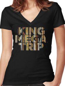 King Megatrip Neo Logo - Vinyl Women's Fitted V-Neck T-Shirt