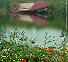 water..and flower field by LisaBeth
