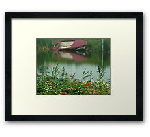 water..and flower field Framed Print