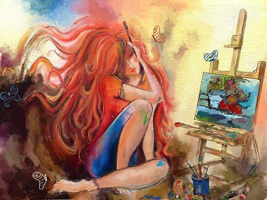 An artist at her work  by artsmitten