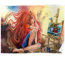 An artist at her work  Poster