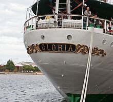 The rear of Gloria, a tall ship from Columbia by Keith Larby