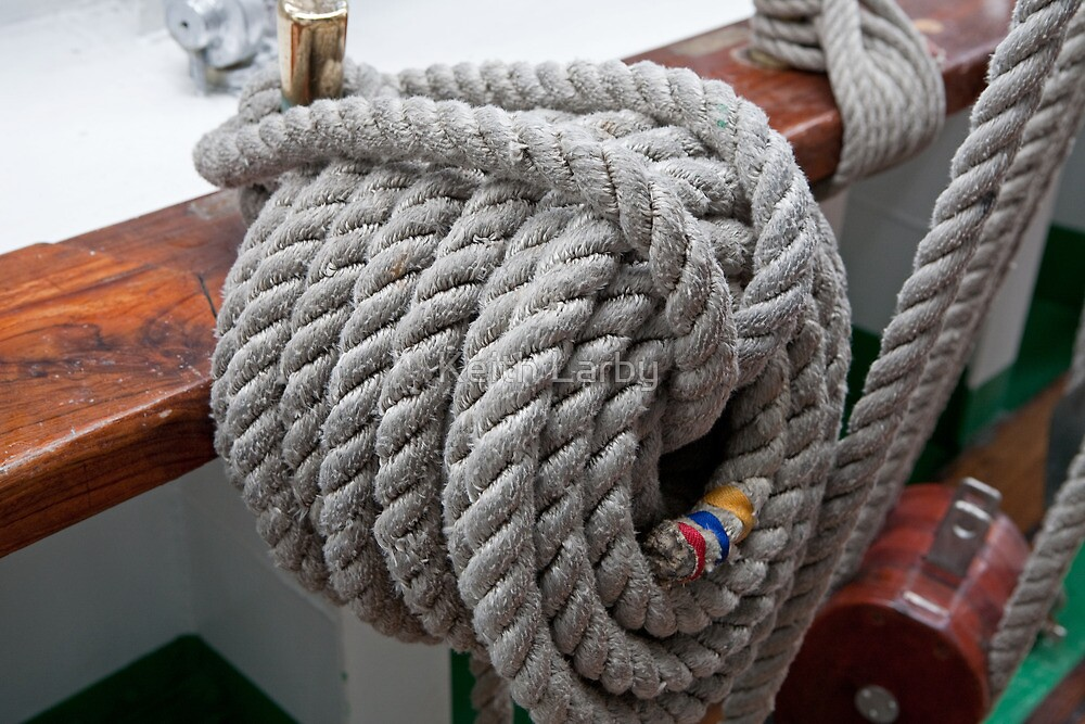 A rope tied on Gloria, a Tall ship by Keith Larby