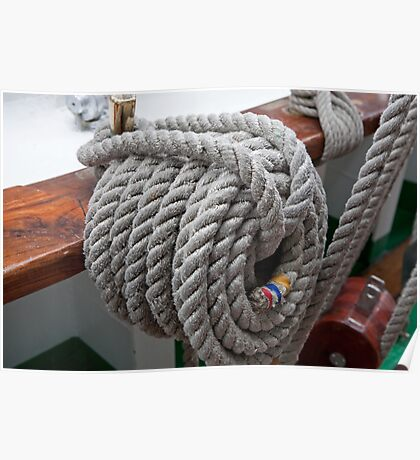 A rope tied on Gloria, a Tall ship Poster