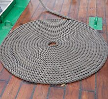 A grey rope in a circle on the varnished deck of Gloria. by Keith Larby