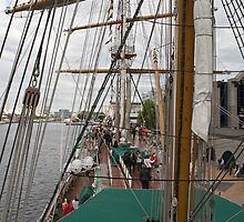 The sail rigging on the Gloria. by Keith Larby