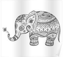 Gray Tones Cute Elephant Poster