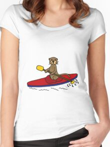 Awesome Sea Otter Kayaking Original Art Women's Fitted Scoop T-Shirt