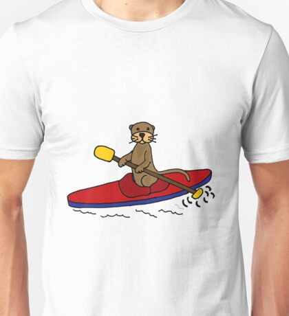 Awesome Sea Otter Kayaking Original Art Unisex T-Shirt