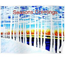 Pine Trees by the lake Poster
