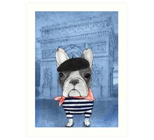 Frenchie With Arc de Triomphe Art Print