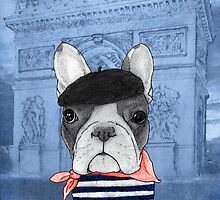 Frenchie With Arc de Triomphe by barruf