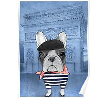 Frenchie With Arc de Triomphe Poster