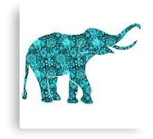 Retro Flowers Cute Turquoise Blue Elephant Canvas Print