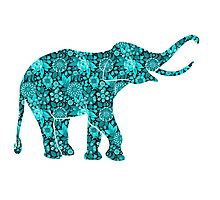 Retro Flowers Cute Turquoise Blue Elephant Photographic Print