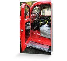 Fire Truck With Fireman's Uniform Greeting Card