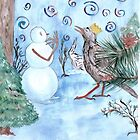 Ilustration for a children's story. Snowman with a Starling by Gabriela Laszcz