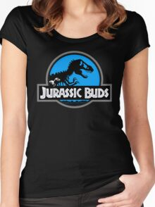 Jurassic Buds (blue) Women's Fitted Scoop T-Shirt