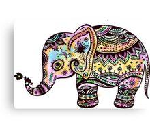 Cute Colorful Retro Flowers Elephant Illustration Canvas Print